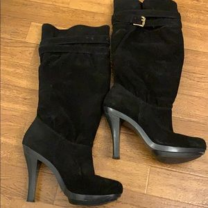 Michael Kors black leather suede heeled boots